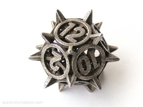 'Center Arc' dice, D12 balanced gaming die in Polished Bronzed Silver Steel