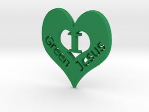 "I ""heart"" Green Jesus Pendant in Green Processed Versatile Plastic"