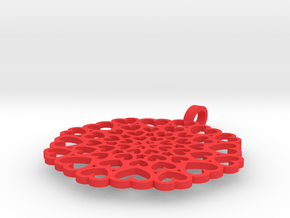 Pendant: Hearts disc in Red Processed Versatile Plastic