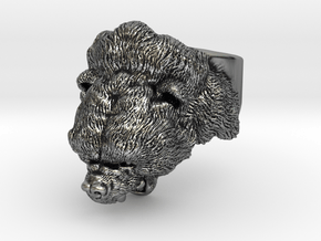 Gizzy Bear   Black Bear   Brown Bear Ring in Antique Silver: 9 / 59