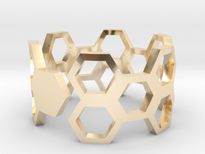 HoneyComb Ring in 14k Gold Plated Brass