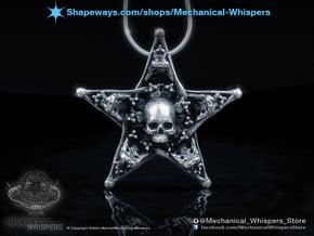 Mystical Pentagram Bone Pendant in Polished Nickel Steel