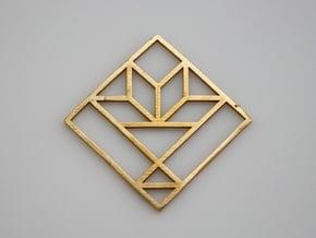 Cactus Basket Quilt Block Pendant in Natural Bronze