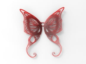 Butterfly Wings Pendant in White Processed Versatile Plastic