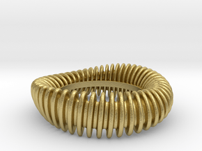 WAVE TWIST wide ring size 8 in Natural Brass