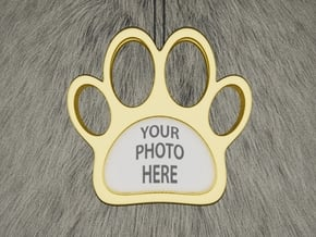 Paw Dog Necklace Pendant in White Natural Versatile Plastic: Small