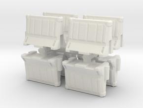 Interlocking traffic barrier (x8) 1/100 in White Natural Versatile Plastic