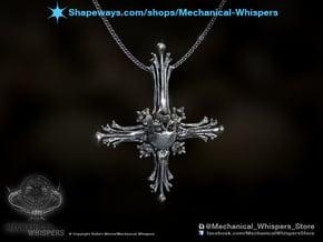Inverted Cross Bone Pendant in Polished Nickel Steel