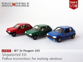 SET 3x Peugeot 205 (British N 1:148) in Smooth Fine Detail Plastic