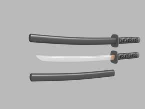 Wakizashi - 1:12 scale - Curved blade - Tsuba in Smooth Fine Detail Plastic