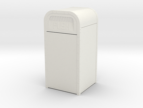 """1:16 (3/4""""=1') Scale Amusement Park Garbage Can in White Natural Versatile Plastic: d00"""