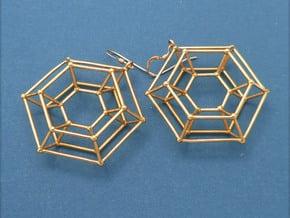 Steampunk Donut - Earrings in Cast Metals in Polished Brass