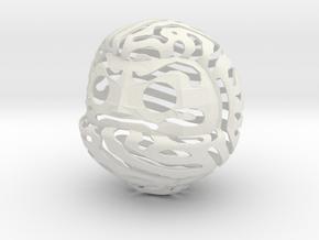 Nature Pattern Daruma Doll in White Natural Versatile Plastic