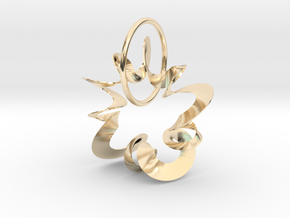 SPRINGY WIND MOVEMENT PENDANT in 14k Gold Plated Brass