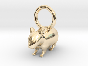 CUTE HAMSTER PENDANT in 14k Gold Plated Brass