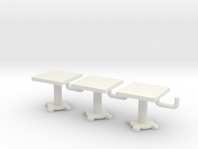 1/72 scale Square Tables x3 in White Natural Versatile Plastic