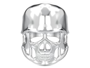Skull in helmet biker ring  in Polished Silver
