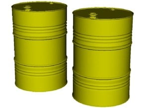 1/12 scale petroleum 200 lt oil drums x 2 in Smooth Fine Detail Plastic