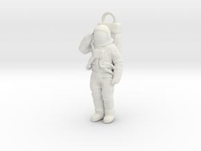 Nylon or Metal Saluting Neil/Buzz pendant or fob in White Natural Versatile Plastic