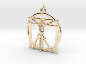 Vitruvian Man Small Pendant in 14k Gold Plated Brass