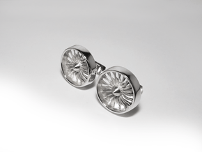 Turbine Cufflinks Model 1 in Polished Silver