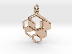 Bee Hive Pendant - Keychain in 14k Rose Gold Plated Brass