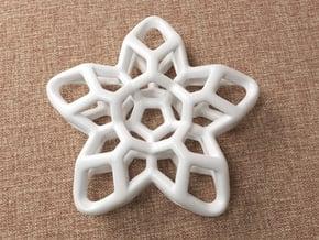 Flower Pendant Type A in White Natural Versatile Plastic: Medium