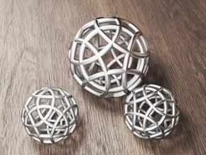Twelve-Circle Sphere Pendant in White Natural Versatile Plastic: Small