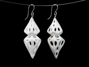 Cell Ring Pair in White Natural Versatile Plastic