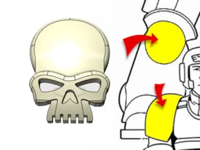 20x Skull - Tiny Convex Insignias (3mm) in Smooth Fine Detail Plastic