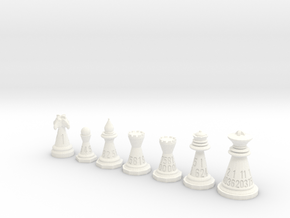 Chessdice (Solid) in White Processed Versatile Plastic: Polyhedral Set