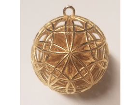 Power Ball Pendant - Steel in Polished Gold Steel