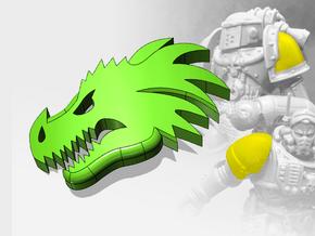 60x Dragon Head - Small Convex Insignias (5mm) in Smooth Fine Detail Plastic