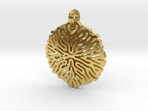 Reaction Diffusion Pendant #1 in Polished Brass