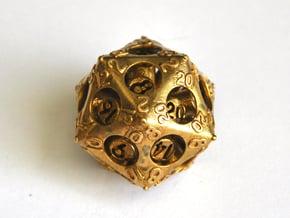 D20 Balanced - Advantage in Natural Brass (Interlocking Parts)