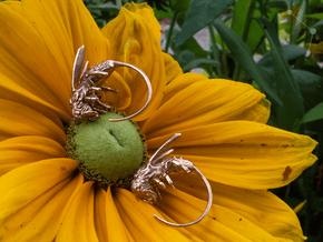 Honey Bee Hoop - Single Earring - Vessels in Natural Bronze