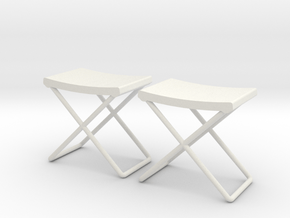 Military Stool - Field Camp Folding, Style I 1:16 in White Natural Versatile Plastic