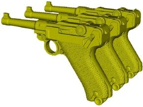 1/16 scale Luger P-08 Parabellum 1908 pistols x 3 in Smooth Fine Detail Plastic