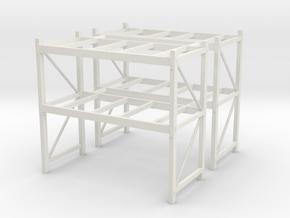 1/64th Shop or Warehouse pallet rack shelving (2) in White Natural Versatile Plastic