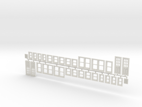 House Window set in O scale in White Natural Versatile Plastic