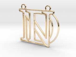 D&N Monogram Pendant in 14k Gold Plated Brass