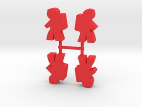 Astronaut Meeple, Side, 4-set in Red Processed Versatile Plastic
