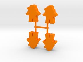 Astronaut Meeple v4, front, 4-set in Orange Processed Versatile Plastic