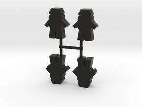 Astronaut Meeple v5, front, 4-set in Black Natural Versatile Plastic