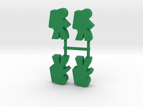 Astronaut Meeple v2, side, 4-set in Green Processed Versatile Plastic