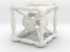D6 Polywell Hypercube in White Natural Versatile Plastic