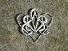 Nouveau Swirl Heart Pendant in Polished Silver