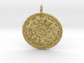 Druid Power Tree Pendant in Natural Brass: Small
