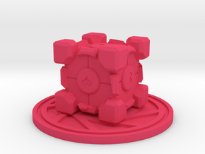 Portal Companion Cube Figurine in Pink Processed Versatile Plastic