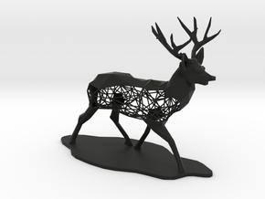 Low Poly Semiwire Deer in Black Premium Versatile Plastic
